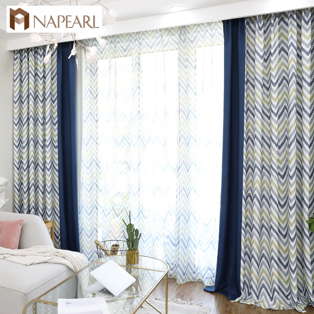 US $6.89 52% OFF NAPEARL Stitching Modern Design Drapes for Bedroom Windows  Thick Curtains Wavy Pattern Colorful Elegant Panel All Match Tulle-in ...