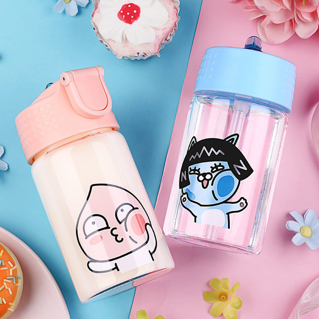 300ml baby glass cup with straw kids learning drinking water bottle