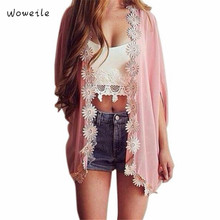 Woweile Hot New Marketing Women Ethnic Lace Flower Loose Kimono Cardigan Jacket Blouse Tops Body Blouses blusa Clothes For Women