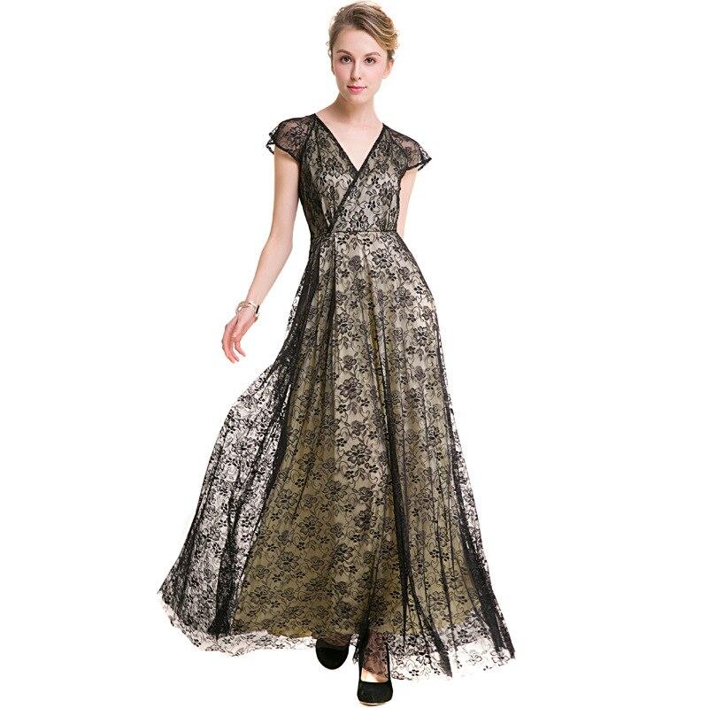 Sexy col en v noir dentelle robe femmes printemps taille haute à manches courtes robe élégante noël Maxi longue robe Vestidos