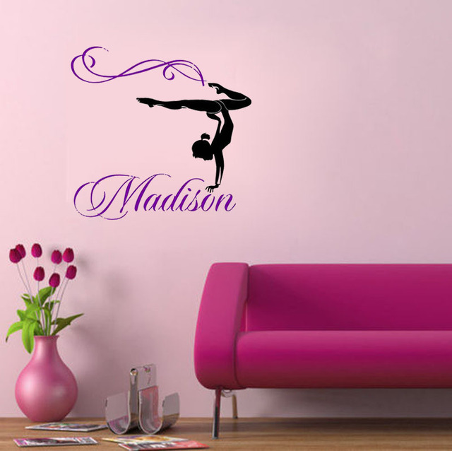 Merveilleux Personalized Girl Name Gymnast Gymnastics Dance Dancing Wall Decals Quote  Nursery Wall Decal Wall Sticker Girl