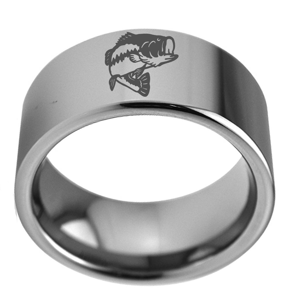 11mm Wide Big Ring for Male Solid Tungsten Carbide Flat Wedding Band with Pipe Bass Fish Engraved Outside Size 7 to 13