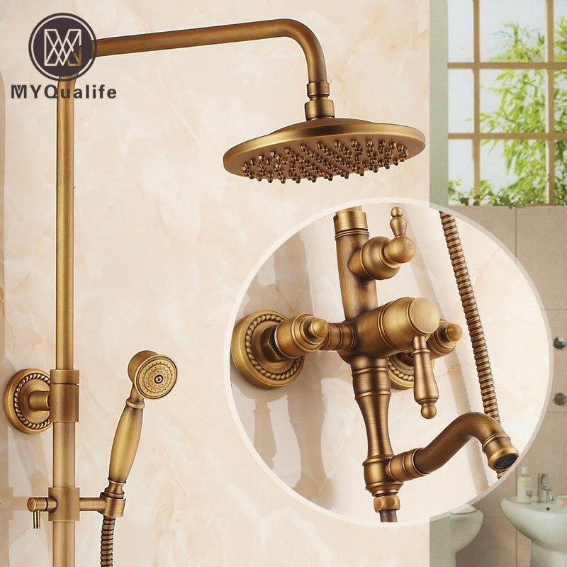Retro Style Brass Shower Set Single Handle Swivel Rotation Bath ...