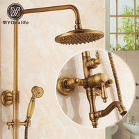 Retro Style Brass Shower Set Single Handle Swivel Rotation Bath Shower Mixer Faucet Antique Mixers for Bathroom