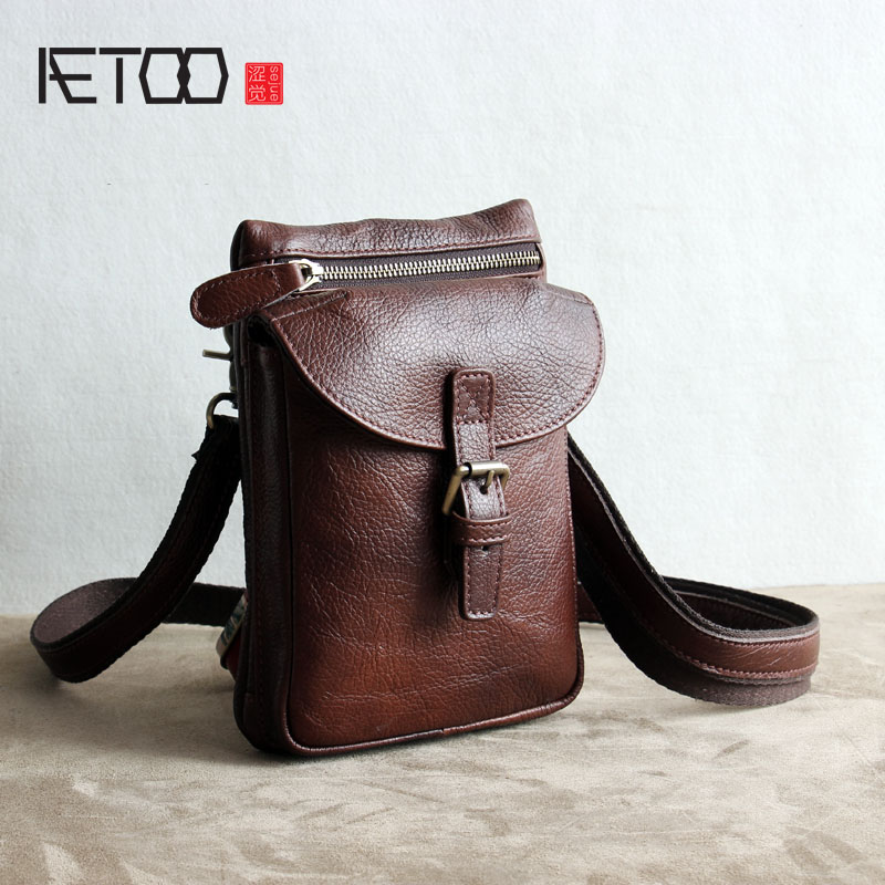 AETOO Original retro first layer of leather multi functional package tide men bag men s pockets