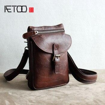 AETOO Original retro first layer of leather multi-functional package tide men bag mens pockets Messenger shoulder l