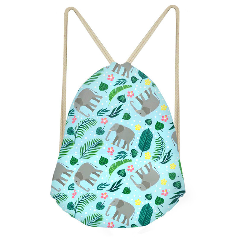 THIKIN Zen Elephant Party Print Drawstring Backpack Girl Daily Shoulder Bag New Arrival Folding Reusable Shopping Bag For Women