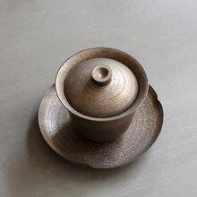 Розовый позолоченный Ретро Gaiwan ручной работы ржавчины глазурь чай супница китайский чайный набор кунг-фу чайная церемония аксессуары керамическая посуда для напитков