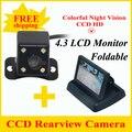 Promoção 4.3 Tela Da polegada TFT LCD Monitor Do Carro Retrovisor Monitor com CCD Car Câmara de Visão Traseira para Câmera Traseira Do Carro câmera reversa