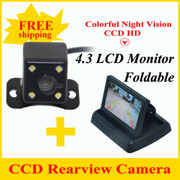 Promotion 4.3 inch Screen TFT LCD Rearview Monitor Car Monitor with CCD Car Rear View Camera for Rear Camera Car reverse camera 4 3 tft lcd car rear view stand security monitor and camera kit black