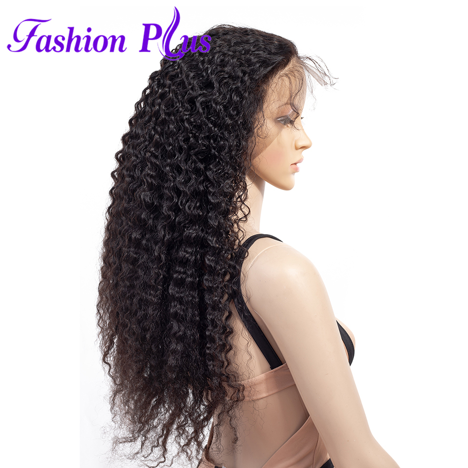 Fashion Plus Full Lace Human Hair Wigs With Baby Hair For Black Woman Brazilian Curly Hair Wig Pre Plucked Bleached Knots Wigs(China)