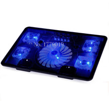 """Hot sell Genuine 5 Fan 2USB Laptop Cooler Cooling Pad Base LED Notebook Cooler Computer USB Fan Stand For Laptop PC 10""""-17"""""""
