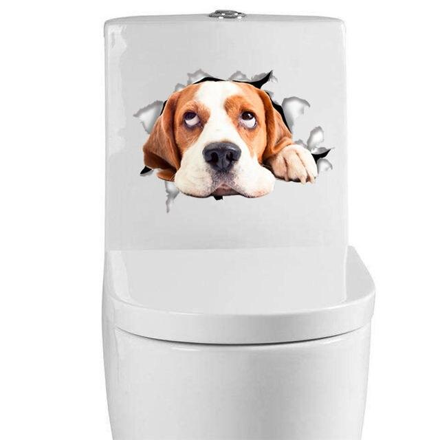Online Shop Cani gatti Wall Sticker Wc Porta Del Frigorifero Del ...