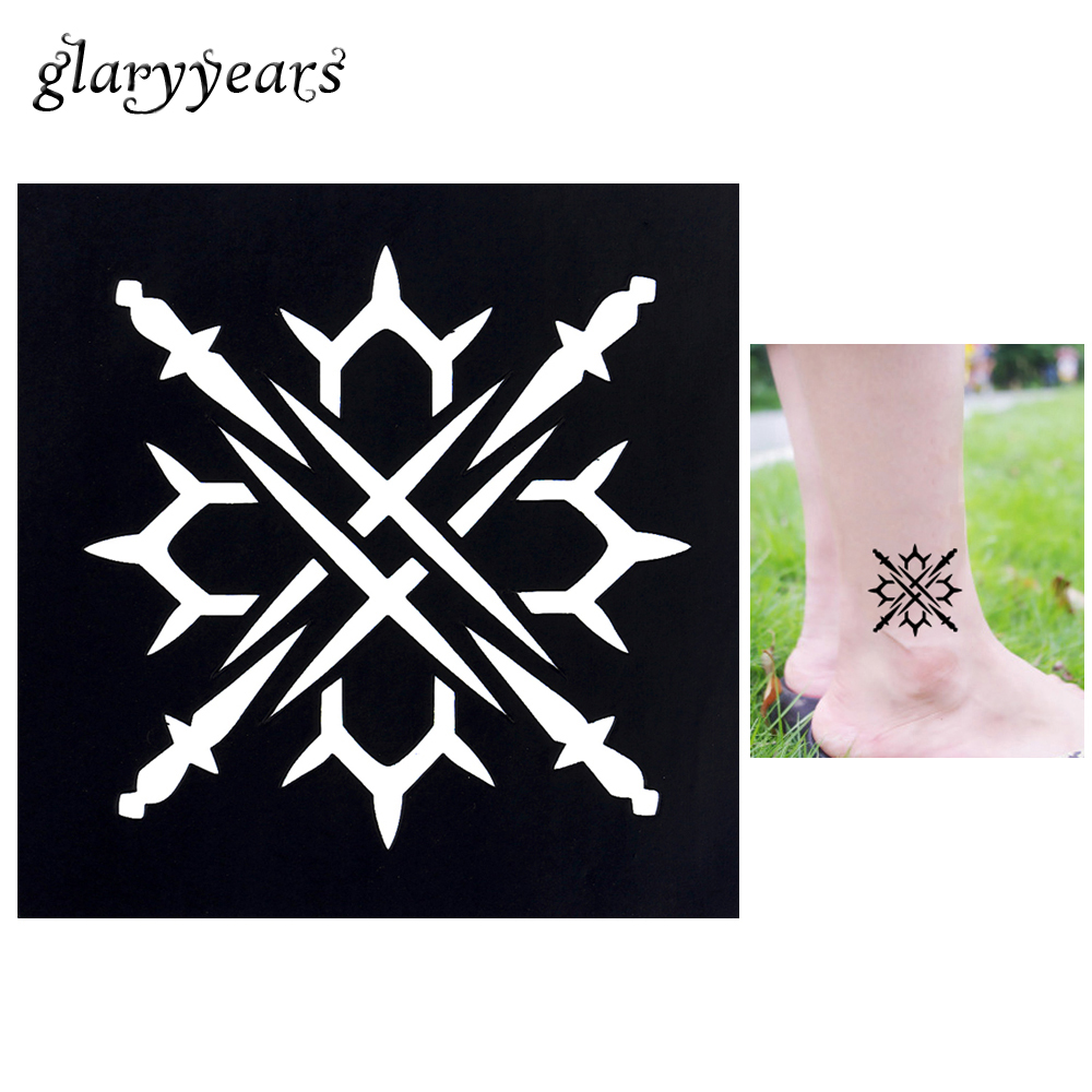 1pc Body Art Airbrush Paint Tattoo Stencil Sharp Cutlery Design Small Henna Indian Tatoo Sticker Stencil for Lady Waterproof G11 salmon