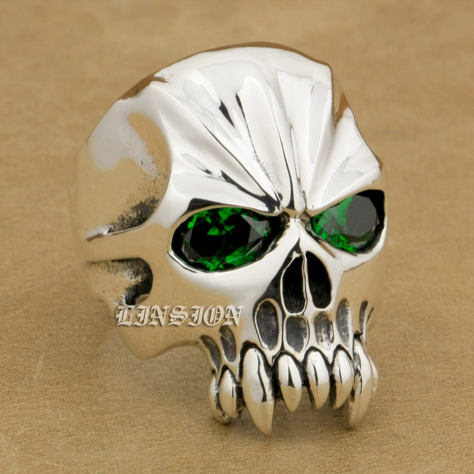 925 Sterling Silver Green CZ Eyes Skull Mens Biker Rocker Ring 9M304A US 8~15 green cz eye 925 sterling silver skull ring mens biker punk style 8v306a us 8 15