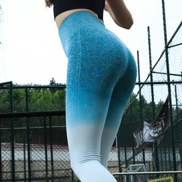 LANTECH נשים ספורט כושר יוגה מכנסיים דחיסת גרביונים OMBRE חלק מכנסיים נמתח גבוהה מותן לרוץ כושר חותלות ירך לדחוף את