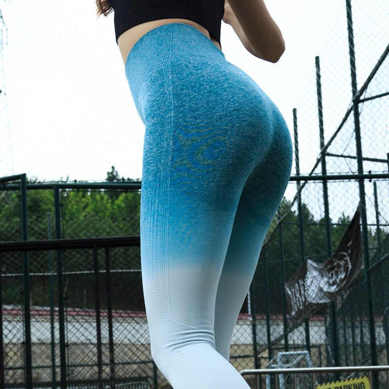 LANTECH Женщины Спорт Тренажерный зал компрессионные штаны для йоги колготки OMBRE Бесшовные Брюки эластичные, высокая посадка для бега, фитнеса леггинсы Хип Push Up
