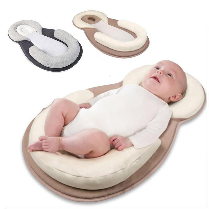 Aag Newborn Sleep Positioner Pillow Cotton Comfortable Sleeping Headrest Pillow Anti Roll Cushion Stroller Accessories 0 Baby Bedding