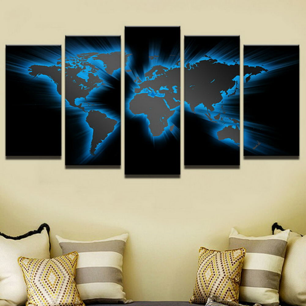 Modern Panel D World Map Oil Spray Painting Home Decor Wall Art - 3d world map wall art