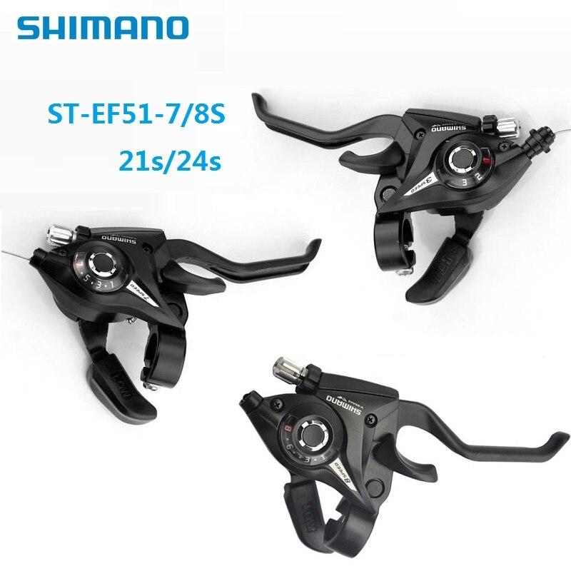 SHIMANO ST EF51 7/8 Geschwindigkeit Schalthebel Verbunden Dip 21/24 Geschwindigkeit Daumen Shifter und Bremshebel MTB Berg fahrrad Zubehör