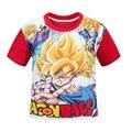 Meninos 3D Dragon Ball Goku 3-10Y Bebê Caçoa T-shirt Novo Verão Preto Vermelho Crianças Meninos Tops Esportes Camisetas Roupas