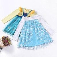 La caída de la navidad Niña Elsa y Anna Vestido de Algodón de Manga completa Una línea de vestido de La Princesa Vestidos Infantis Niños de Tela ropa