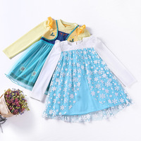 Christmas Fall Baby Girl Elsa And Anna Full Sleeves Dress Cotton A Line Dress Princess Vestidos