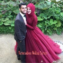 Casamento Burgundy Lace Long Sleeve Islamic Muslim Wedding Dresses With Hijab Middle East Arabic Dubai Bridal Gowns Kaftan Abaya