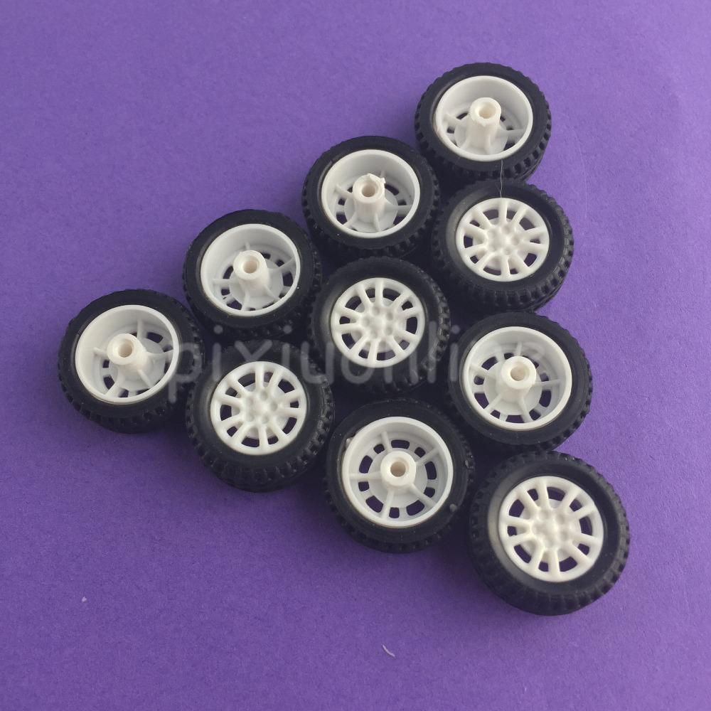 10pcs/lot J253Y Mini 20mm Model Vehicle Wheel Hollow Out Rubber Plastic Wheel DIY Model Car Making Parts