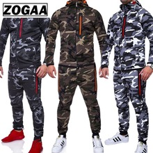ZOGAA Men Sets Track Suit 2018 Camouflage Jacket Camo Print Tracksuit Matching Sportswear Hoodie Coat Pants Sweatsuit Military