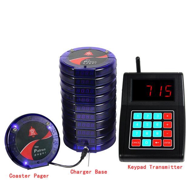 10 Digital Restaurante Coaster Pager Convidado Sistema de Fila de Paginação Sem Fio para Completar Para Restaurantes Equipamentos Azul F3197