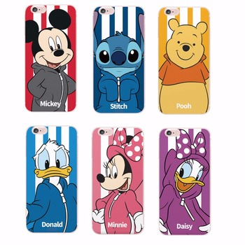 Minnie Mickey Cartoon Donald Duck Stitch Piglet  Daisy  Characters Sportswear Phone case For iPhone 4 5 6 7 S Plus SE 5C Samsung Car phone