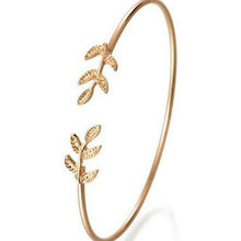 11.11 1 pcs 2018 Fashion Open the Leaf Wrap Bracelets Women Jewelry Double Gold Silver Bilezik Opening Gift Mujer Pulseras(China)