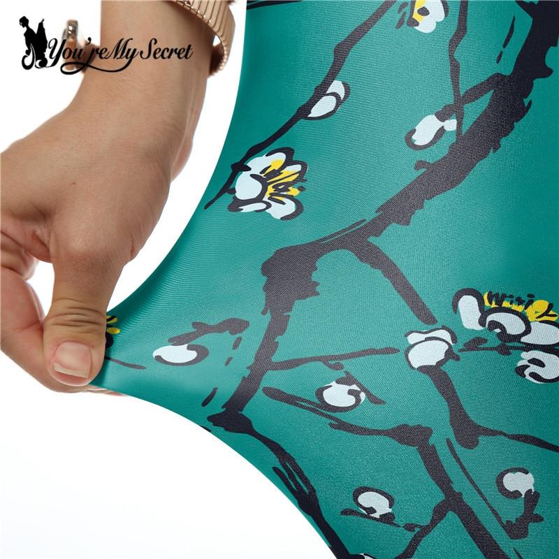 [Youre My Secret] New Fashion Dark Green Leggins Plum Flower Legins Printed Women Leggings Fitness Pant Winter Wholesale