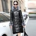 De piel de oveja genuina abajo mujeres de la capa de cuero de gamuza de piel de invierno abajo chaqueta de cuello de piel de zorro real envío libre Nueva Phoenix 1018J