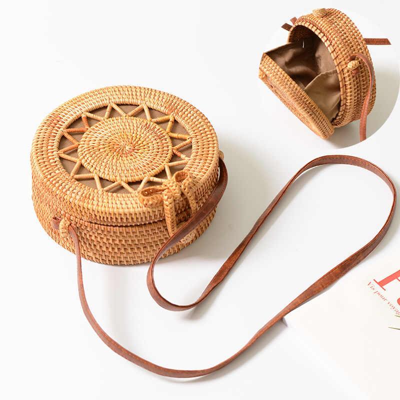 71c694b61e4143 ... Summer Bali Hand-Woven Rattan Bag Embroidery Shoulder Crossbody Bags  Beach Straw Bag Bohemian Knitting ...