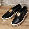 British casual men's stage nightclub checkered cow leather shoes flat platform slip on oxford shoe teenage loafers Moccasins man