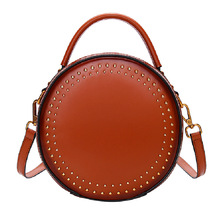 MZORANGE Retro Rivet Women Messenger Bags Genuine Leather Small Round Bag Ladies Handbags Shoulder Crossbody Bag