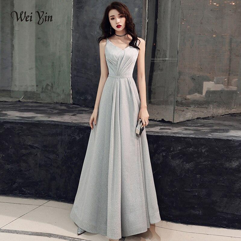 Weiyin Evening Dress Women 2019 Sexy V-neck Long Formal Dress Elegant Evening Gowns Robe De Soiree Party Prom Dress WYY1367