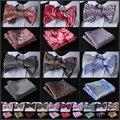 Efa Pailey Floral hombres de seda partido tejido de bolsillo clásico cuadrado auto pajarita pañuelo Set