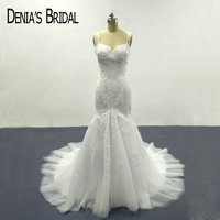 2017 Mermaid Lace White Wedding Dresses With Sweetheart Neckline Appliques Spaghetti Straps Bridal Gowns