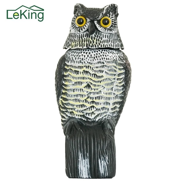 Large Realistic Simulation Owl Decoy With Rotating Head Bird Pigeon Crow  Scarecrow Garden Car Decoration Farms