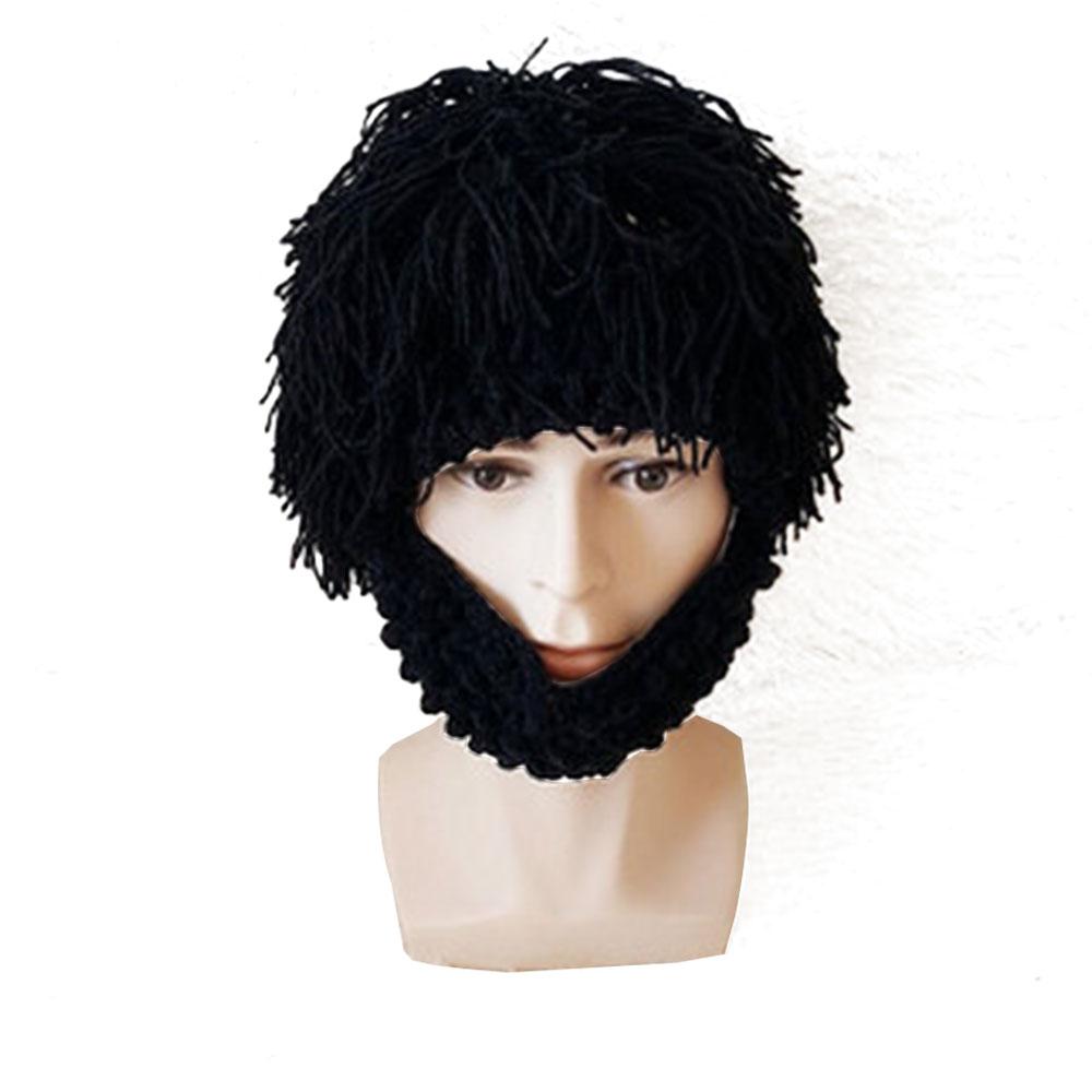 Wig Beard Creative Wool Hat Handmade Knit Funny Windproof Hat Hat Mask Beard Squid Cap Cosplay Beanie Wind Wool Knit Cap