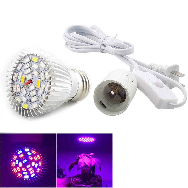 Full spectrum 28 Led plant Growing light bulbs With Ac Power Cable Hydroponic Flower Growth IR UV Light For Indoor Hydroponics