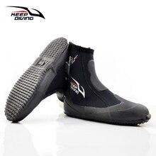 Tutmak dalış 5MM neopren tüplü dalış botları su ayakkabısı vulkanizasyon kış soğuk geçirmez yüksek üst sıcak yüzgeçleri Spearfishing ayakkabı