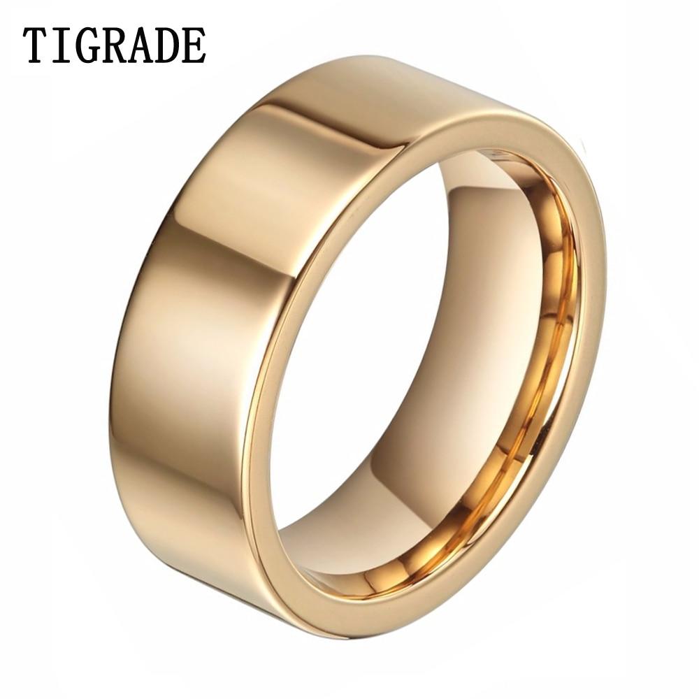 Ausdrucksvoll Tigrade 8mm Männer Goldene Hartmetall Ring Männlichen Mode Schmuck Gold Frauen Hochzeit Bands Anillos Mujer Anels Herr Von Ringe Hochzeits- & Verlobungs-schmuck