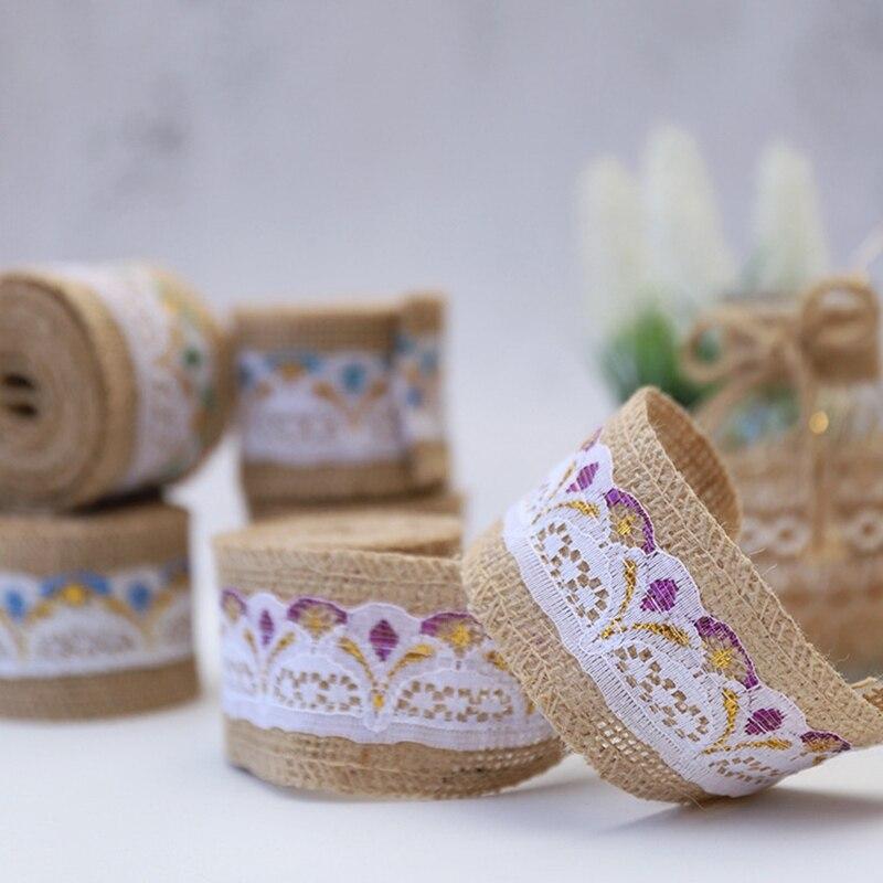 2 pcs 5cm*2m European Lace Burlap Ribbon Retro Wedding Centerpieces Vintage Wedding Handemade DIY Cake Packing Decoration