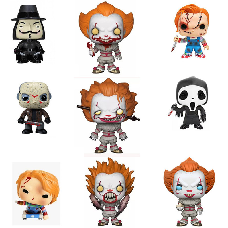 US $3 6 21% OFF|10cm Movie Stephen King's It Child's Play Saw Scream  Pennywise Chucky Billy Friday the 13th VforVendetta Action Figure Toys-in  Action