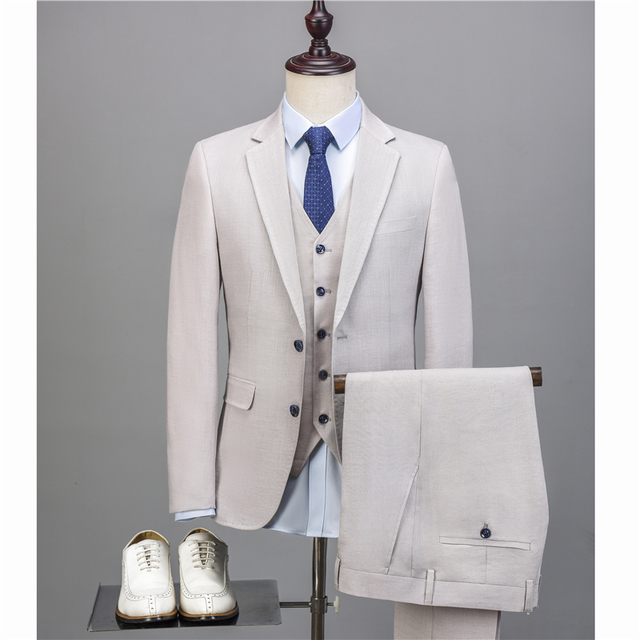NA44 2018 Latest Design Men Suit Men 3 Pieces Off White Blue Linen ...