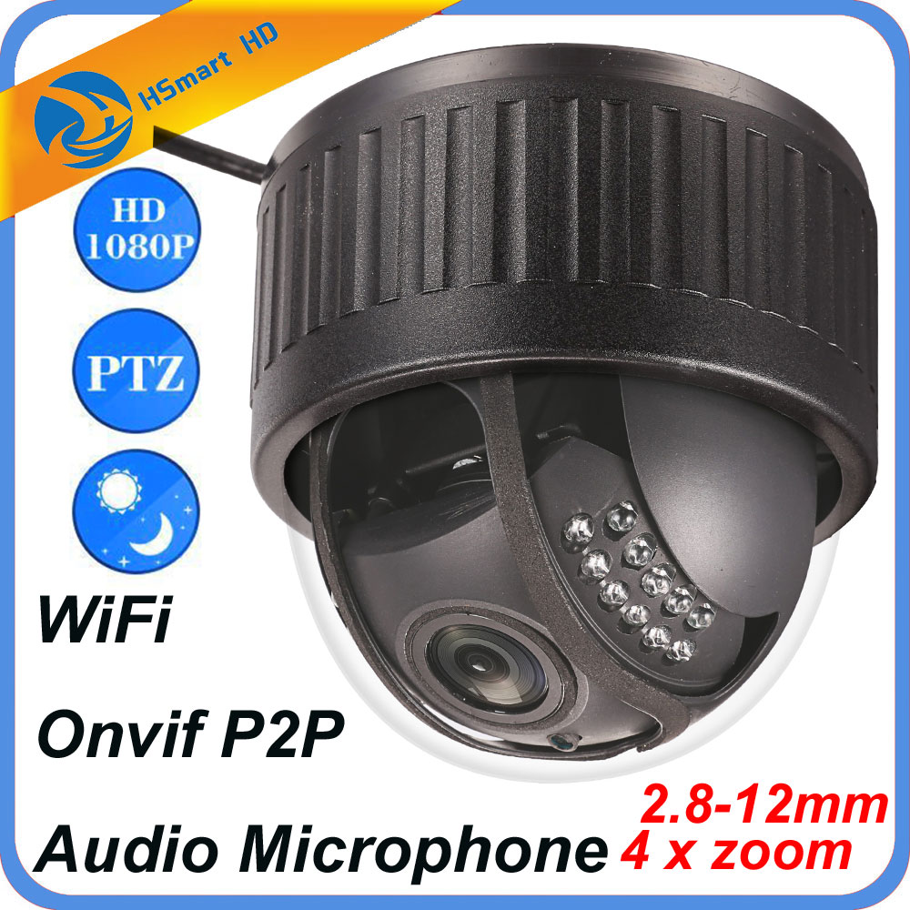 HD 1080P 4X Optical Zoom IP Camera WiFi Wireless CCTV Dome Indoor Security PTZ 2.8-12mm IR LED Camera Audio Microphone Onvif P2P onvif hd 2 0mp 20x optical zoom 100m ir distance 1080p ptz cctv wired camera speed dome camera with auto wiper